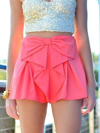 shorts pink bow shirt ebony lace ebonylace.storenvy ebonylace-streetfashion skirt clothes bows cute girly bowshorts coral hot pink pink shorts summer outfits pink shorts sweet high waisted spring pink skirt dress sparkly pink dress