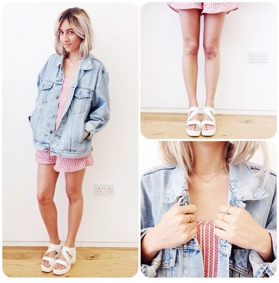 jeans jacket blue dress fashion lovely pepa girly pink dress white dress