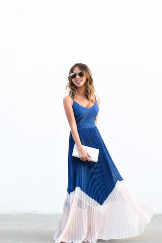 lace and locks blogger jewels shoes sunglasses bag blue dress maxi dress clutch aviator sunglasses ruffle dress