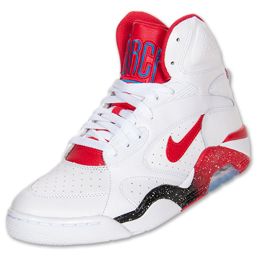 Men\u0027s Nike Air Force 180 Mid Basketball Shoes | FinishLine.com | White/Hyper  Red/Blue