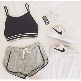 top calvinklein black top underwear sporty nike shoes shoes shorts