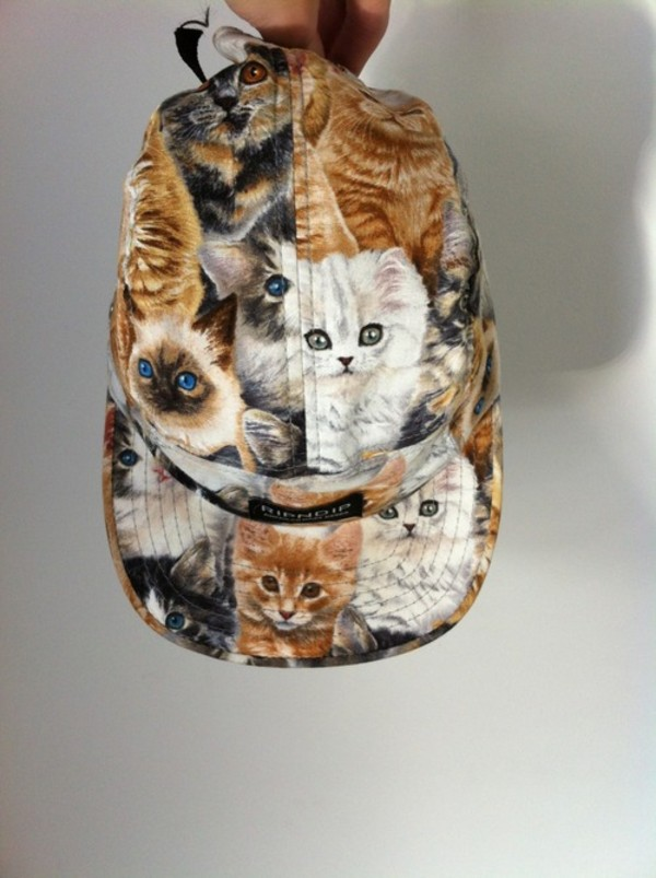 hat cap 5 panel 5 panel cap cat print cats