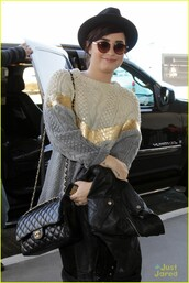 sweater,oversized sweater,grey,gold,beige,demi lovato,black,dark,sunglasses