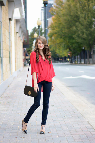 southern curls and pearls blogger blouse bag jewels make-up red pointed heels asymmetric shirt red shirt black bag tory burch shoulder bag blue jeans skinny jeans pumps cap toe spring outfits asymmetrical top