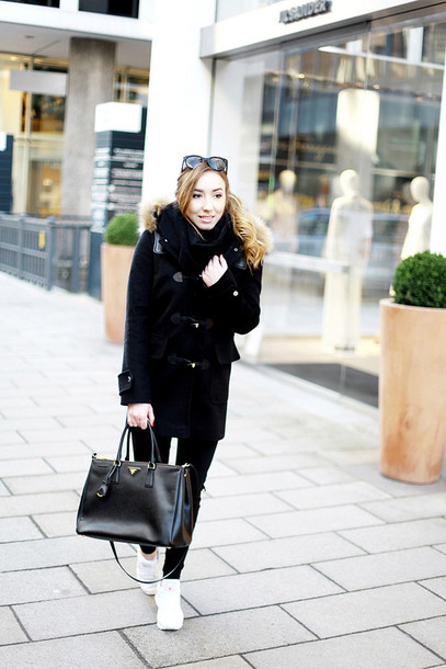 flirting with fashion blogger duffle coat winter coat black coat black bag hooded winter coat prada prada bag black jeans skinny jeans white sneakers sneakers