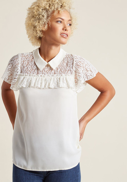 Mct1481 blouse top lace white