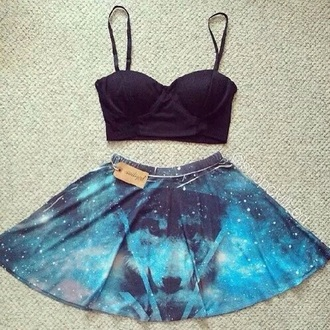 skirt galaxy print black top classy and sassy