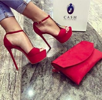 shoes redheels high heels peep toe
