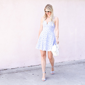 visions of vogue blogger dress shoes jewels sunglasses make-up floral dress blue dress mini dress short dress blue sandals sandals high heel sandals white sandals white bag summer dress summer outfits