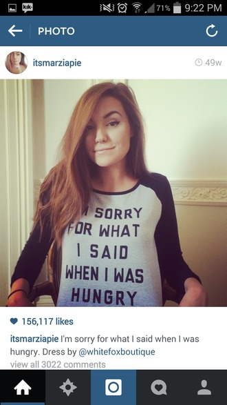 t-shirt funny shirt top blouse black splice half white light baby blue hungry food quote on it marzia sleeves tumblr cute pretty sweet girl