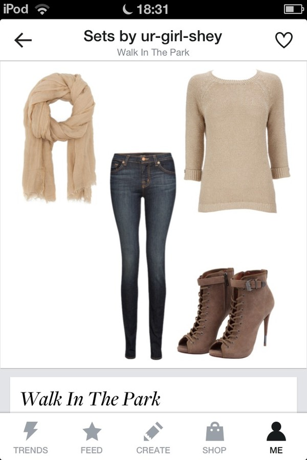 scarf jeans sweater shoes