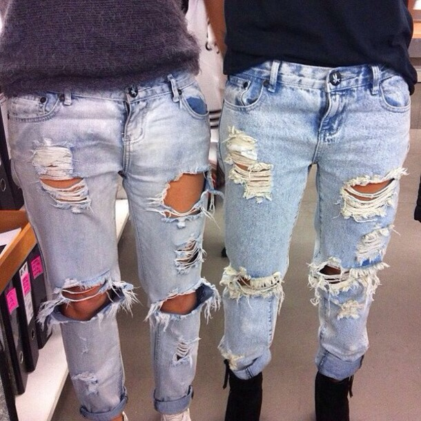 Jeans: ripped jeans, ripped, boyfriend jeans, light blue jeans ...