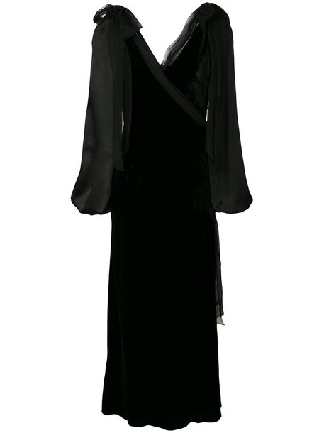 dress wrap dress women black silk