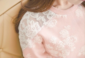 sweater pink flowers pink
