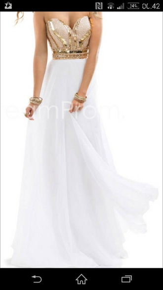 dress white dress gold sequins prom dress not expensive