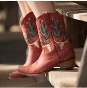 shoes,red,cowgirl boots,cactus pattern,flowers