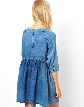 ASOS | ASOS Denim Smock Dress in Mid Wash at ASOS