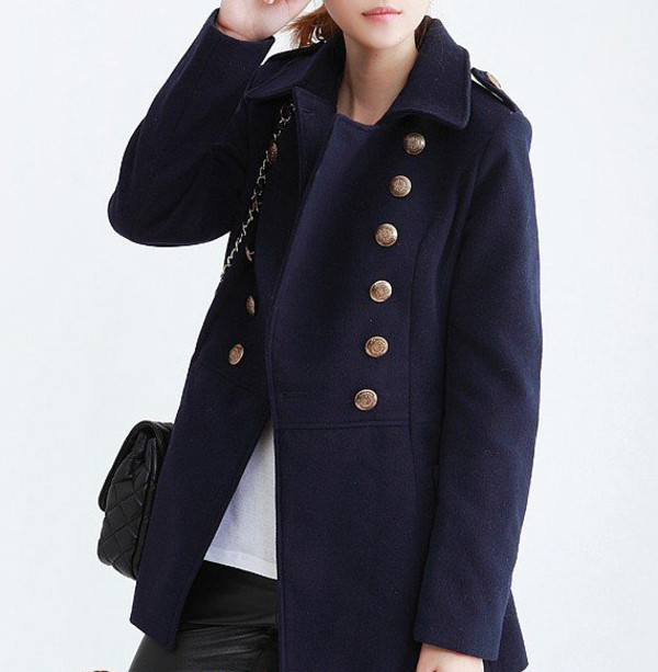 Coat: military coat, navy, double-breasted coat, winter outfits . - Womens Navy Military Coat Down Coat