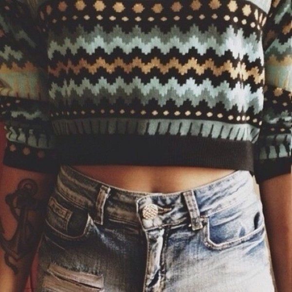 sweater shorts crop top sweater black colorful cute aztec