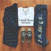 t-shirt,sarcasm,fluent sarcasm,white tee,i speak fluent sarcasm,jeans,white t-shirt,shirt,sweater,girlfriend jeans,blouse