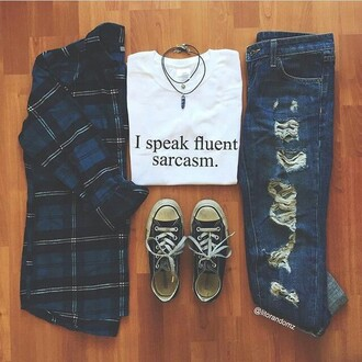 t-shirt sarcasm fluent sarcasm white tee i speak fluent sarcasm jeans white t-shirt shirt sweater girlfriend jeans blouse