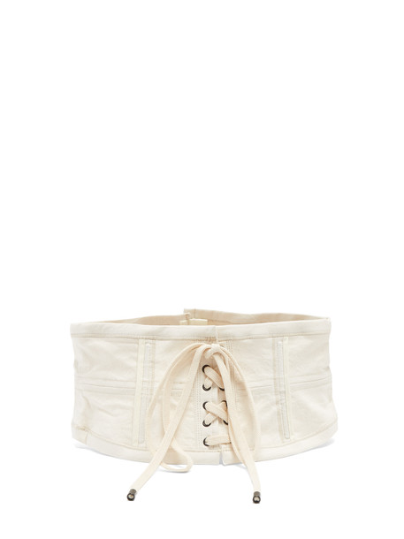 ISABEL MARANT Herese lace-up cotton-blend corset belt in ivory