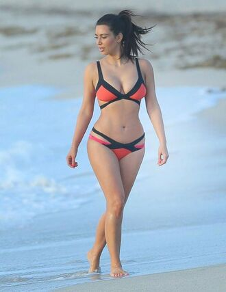 swimwear kim kardashian bikini colorblock summer hot curvy body strappy bikini black beach bikini top bikini bottoms red