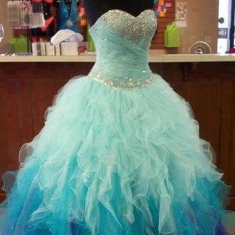 dress ruffle blue sparkle prom prom dress bag i love you ombre dress ball gown dress bling green greenish blue sparkly blue puffy dress