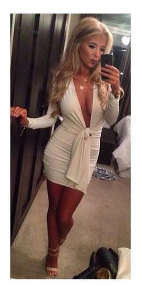 noeud white dress bodycon dress