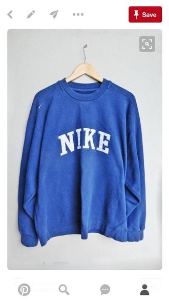 sweater nike vintage sweatshirt blue sweater