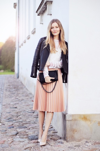 passions for fashion blogger skirt top shoes jacket bag classy pleated skirt midi skirt