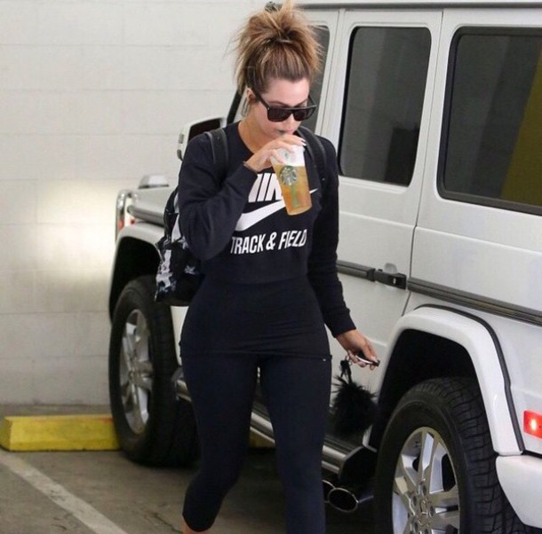 sweater black nike sweater khloe kardashian