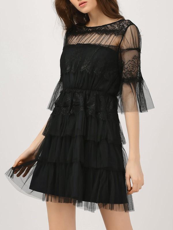 dress black dress flare sleeve flare sleeve dress tulle dress lace dress tulle sleeve dress