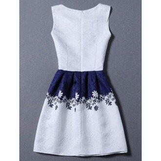 dress white summer party navy spring feminine girly trendsgal.com blue and white mini dress
