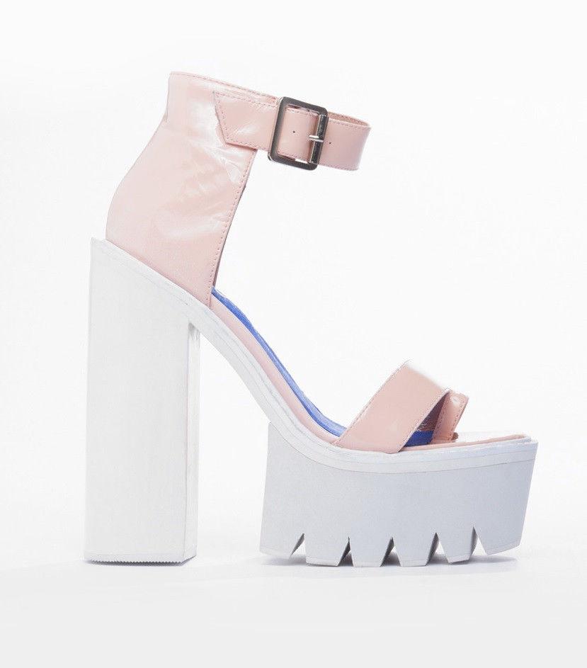 Nwb jeffrey campbell fabrizio heels pink & white sz us7 fits 7.5 / uk5 / eu38