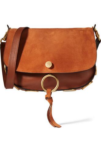 bag shoulder bag leather suede brown