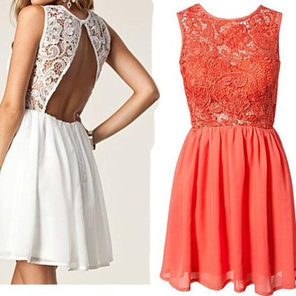 Dress Lace Coral Cream Lace Dress Sundress Cream Dress Open