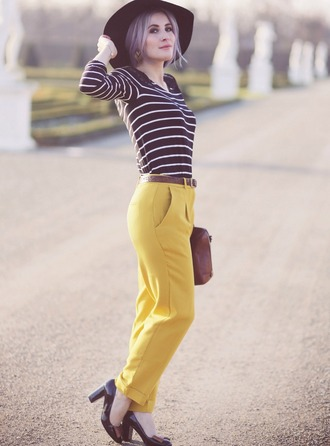 like a riot blogger hat pants stripes jewels top belt bag shoes mustard