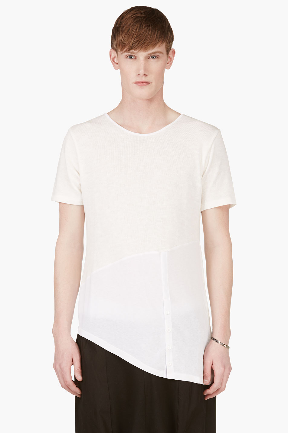 d.gnak by kang.d white knit assymetric hem t_shirt