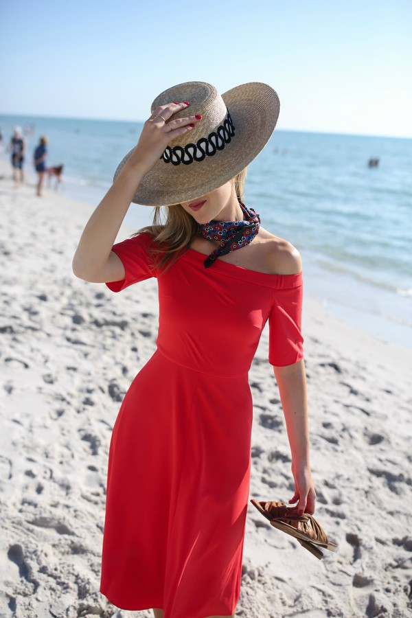 memorandum blogger dress hat scarf sunglasses shoes red dress midi dress off the shoulder dress straw hat summer dress