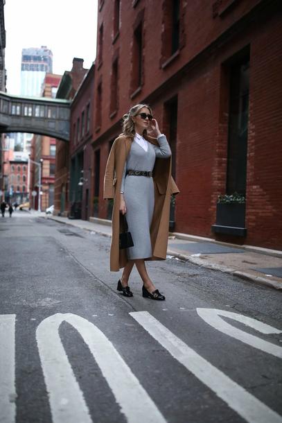 memorandum blogger dress coat shirt bag shoes belt midi dress long coat beige coat loafers winter outfits