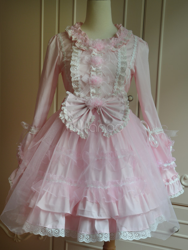 Sweet Pink Cotton Lolita One-piece Dress Long Sleeves Lace Surface Bows