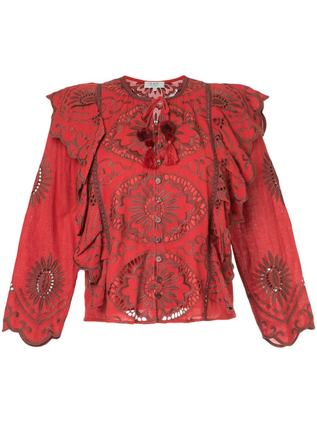 SEA blouse embroidered women cotton red top