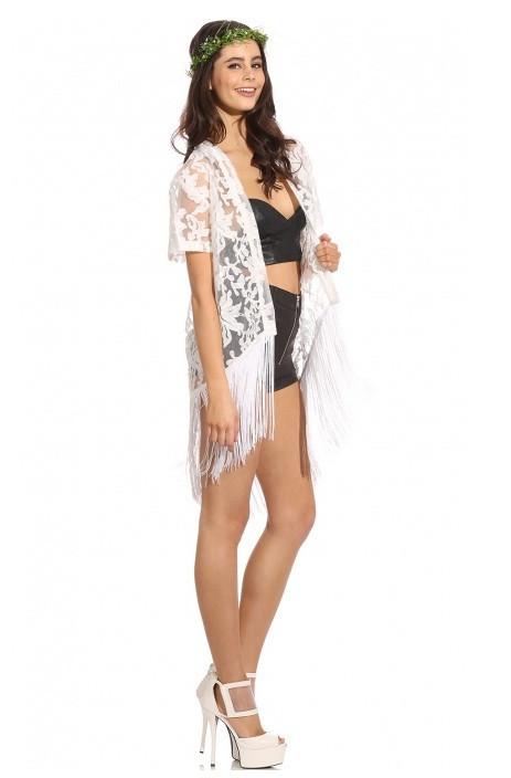 Boho laces & fringe white kimono cape – glamzelle