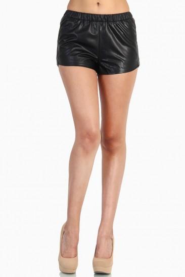 LoveMelrose.com From Harry & Molly   Leather Short Pants - Black
