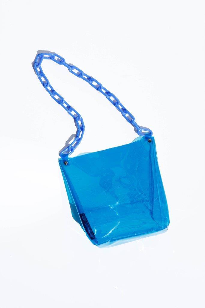 Lana Vinyl Tote - Blue