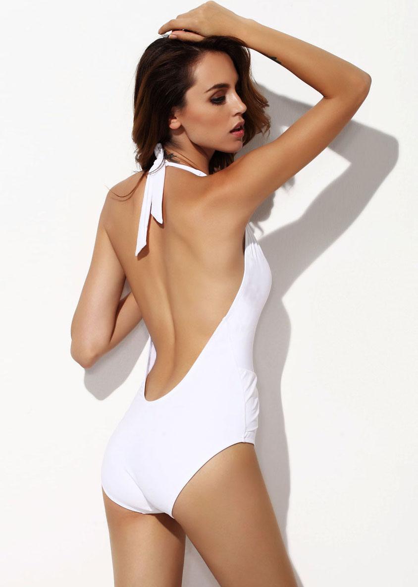 White Deep V Neck Halter Swimsuit - Sheinside.com