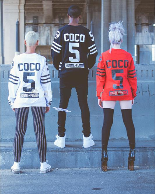 Fake cc coco woman&man's sweatshirt side zipper sportswear tracksuits homme femme hip hop west coa s t hoodies fleece tshirts