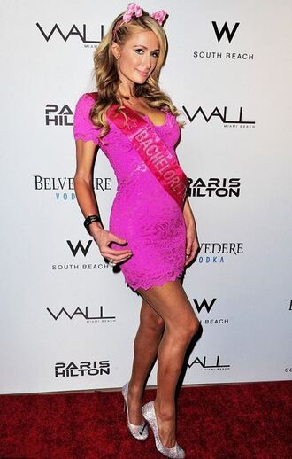 dress pink mini dress pink dress paris hilton pumps shoes