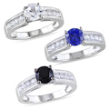 Miadora Sterling Silver Black Spinel or White Sapphire Ring | Overstock.com Shopping - The Best Deals on Gemstone Rings